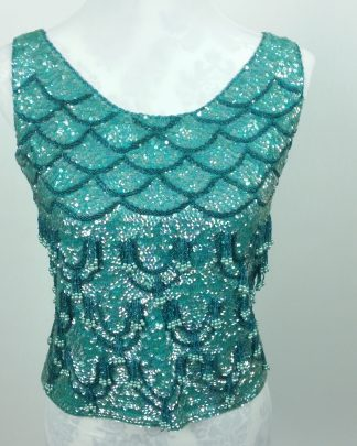 Vintage JO-RO IMPORTS Iridescent Bead Top Evening Sparkly Blue Turquoise Sequins Med
