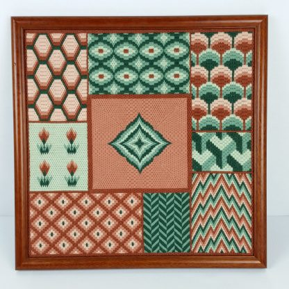 Vintage Needlepoint Finished Completed Framed Patterns Terra Cotta Green Earth 19x19