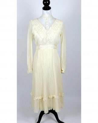 Gunne Sax Maxi Dress Prairie Boho Wedding Ivory Lace Bridal Vintage 70s Size 6 Small