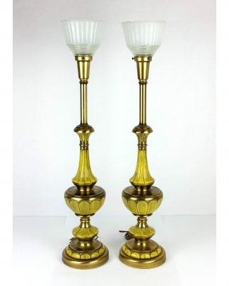 Pair Rembrandt Regency Torchiere Banquet Lamps Tall Brushed Brass MCM 34.5″
