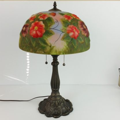 Large Reverse Painted Floral Lamp Puffy Glass Shade Art Nouveau Style