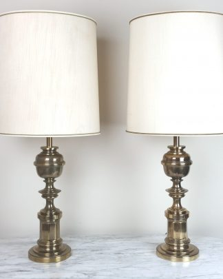Pair Stiffel Brass Table Lamps Mid Century Living Room Decor