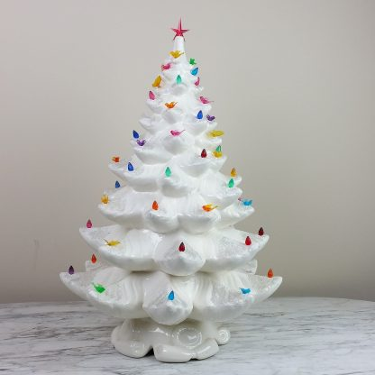 "Large 23"" Atlantic Mold White Ceramic Christmas Tree with Lights Glitter Branches with Base Vintage Christmas Decor SHIPS COMPLETE!"