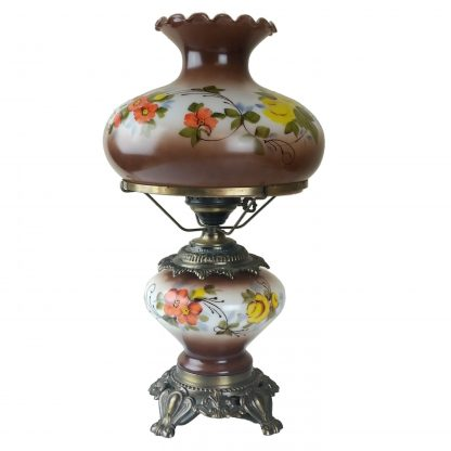 """Brown Floral GWTW Hurricane Lamp 3 Way Hand Painted Table Lamp OUTSTANDING! 22"""""""