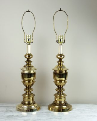 Vintage Pair Mid Century STIFFEL Brass Classical Lamps Hollywood Regency Lights