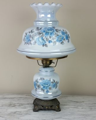 Blue Hurricane Lamp, Iridescent GWTW Lamp, Vintage Lamp