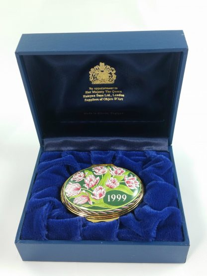 Halcyon Days Oval Enamel Trinket Box 1999 Year to Remember Velvet Lined MINT!