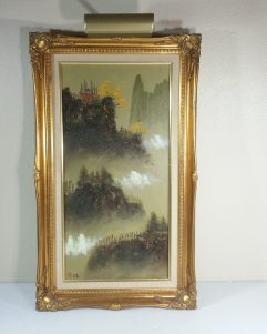 Vintage School Of Mao Chen Horse Hair Oil Painting Chinese Impressionism Landscape