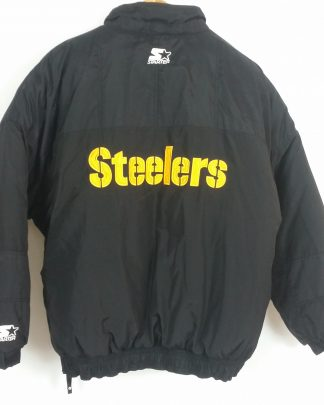 Mens Vintage XL Starter Pittsburgh Steelers Pullover Puffer Jacket Black Gold XL