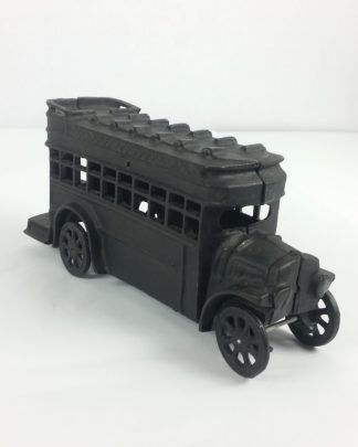 Vintage Collectible Cast Iron Double Decker Bus Heavy No Names Wheels Work