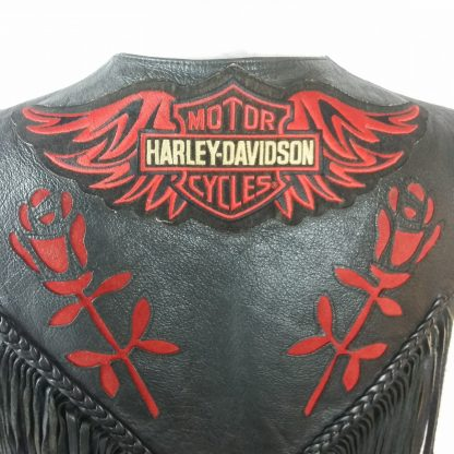 Vintage Womens Harley Davidson Black Leather Lined Vest Red Gypsy Roses Fringe 2XL