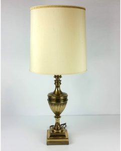 Stiffel Brass Table Lamp Stiffel Shade Hollywood Regency Neo Classical Urn 36""