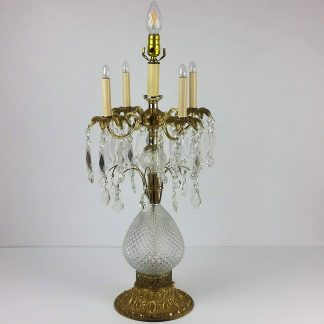 30″ Huge French Candelabra Chandelier Grandiole Table Lamp Glass Prisms 1 of 2 Spectacular