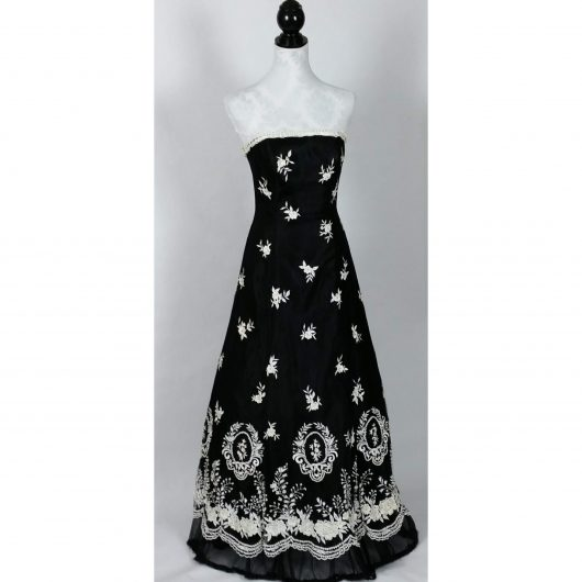 Vintage Lillie Rubin Strapless Ball Gown Black White Embroidery Sequins Pearls Small