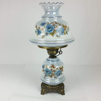 23 Inch Iridescent Blue GWTW Hurricane Lamp Table Parlor Gone With The Wind Vintage OUTSTANDING