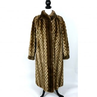 Vintage Sportowne Womens Faux Fur Coat REVERSIBLE Long ILGWU Size XL