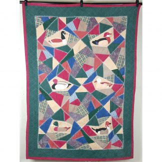 Vintage Hand Stitched Patchwork Duck Quilt Wall Hanging 63 x 46
