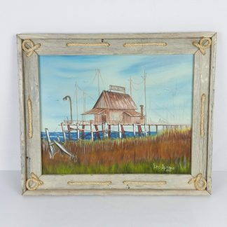 Vintage Original Oil Painting Dock Scene Framed Shore Seashore Ocean 24 x 20