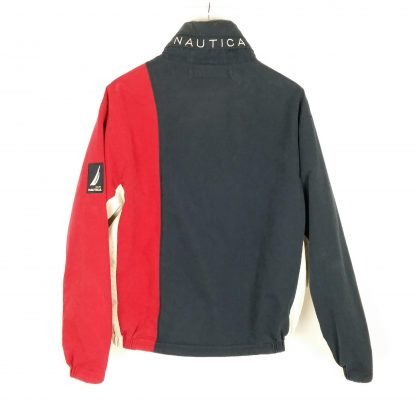 Vintage Nautica Reversible Puffer Jacket Hood Fleece Lined Color Block Spell Out Size Large