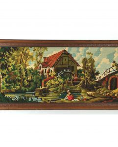 Margot France Framed Completed Needlepoint Stunning 4 Foot, Landscape Art, Living Room Decor, French Country Decor 50x25