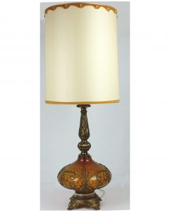 "Large Vintage 41"" Lamp 60s Hollywood Regency MCM Atomic 3Way Falkenstein Amber Glass Lamp"