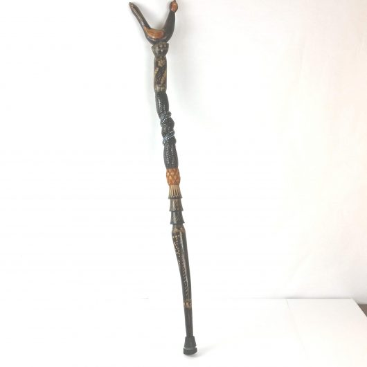African Walking Stick Cane Hand Carved and Painted Art Sculpture