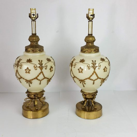 Pair Hollywood Regency Glass Lamps Falkenstein