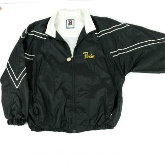 Vintage Purdue Windbreaker Black White Lined Lightweight 90s Jacket Size XL