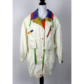 Vintage Long Womens Ivory Parachute Jacket Multi Colored Size Large