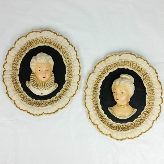 Vintage Mid Century Chalkware Wall Plaque Pair of 2 Wall Hangings Man Woman Victorian 50s