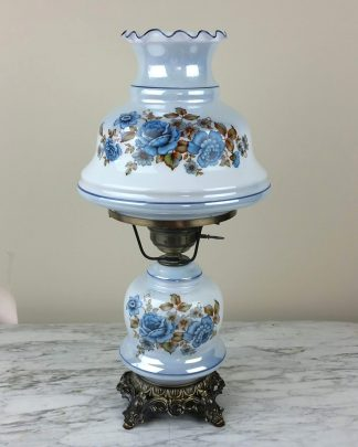 "Vintage 21"" GWTW Hurricane Lamp Hand Painted Floral Table Lamp Gone With Wind"