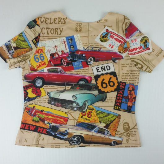 Womens Route 66 Top Classic Cars Driving Stretch Size Medium