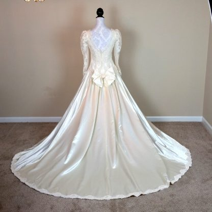 intage Long Sleeve Wedding Dress With Beads and Lace. Eighties Satin Wedding Gown Small