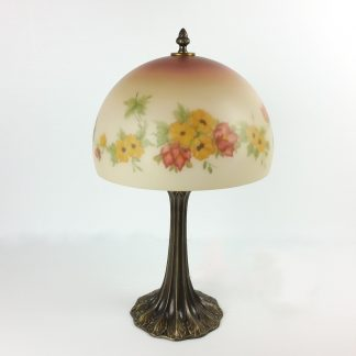 Vintage Reverse Painted Lamp Glass Dome Floral Hand Painted Yellow Flowers 20.5""