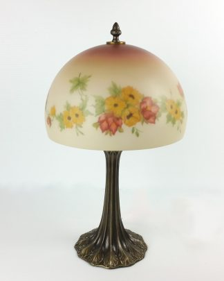 """Vintage Reverse Painted Lamp Glass Dome Floral Hand Painted Yellow Flowers 20.5"""""""