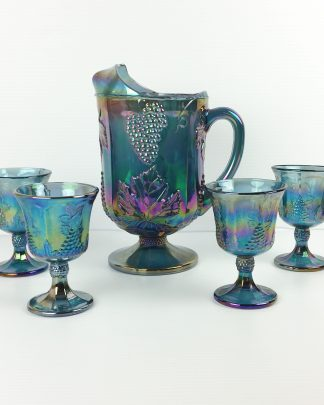 Vintage Indiana Glass Grape Harvest Pitcher and 4 Goblets Blue Carnival Glass