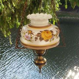 Hanging Floral Hurricane Lamp Ceiling Swag Light Milk Glass OUTSTANDING!