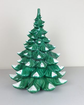 "Vintage 21"" Green Ceramic Christmas Tree Atlantic Mold 3 Pieces Needs Repair"