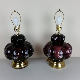 "Pair Purple Melon Bubble Vintage Table Lamps 3 Way Blue Floral 22"" STUNNING!"
