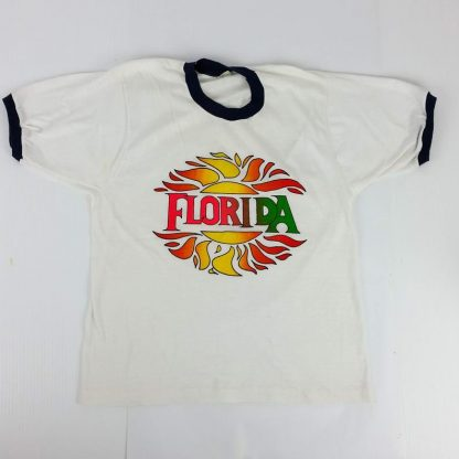 Vintage 70s 80s Florida T Shirt Single Stitch Ringer Soft Paper Thin Size Medium