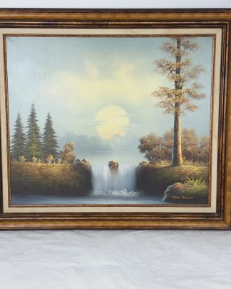 Oil Painting Original, Oil Painting Vintage, Oil Painting Water, Living Room Decor, Wall Decor, Landscape Oil Cabin Decor 30x26 Framed