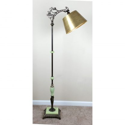 Bridge Arm Floor Lamp Jadeite Houze Art Deco Nouveau Antique Lamp NEW WIRING