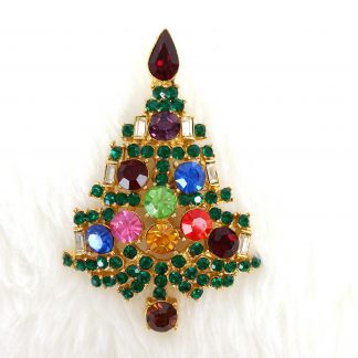 Christmas Tree Pin Brooch Gold Tone & Multi Color Rhinestone Vintage