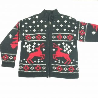 Ralph Lauren Reindeer Sweater 100% Wool Full Zip Cowichan Mens