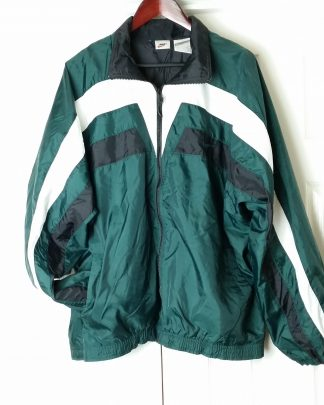 SOLD!! Vintage NIKE Windbreaker Jacket Swoosh Color Block Green White Black Size XL