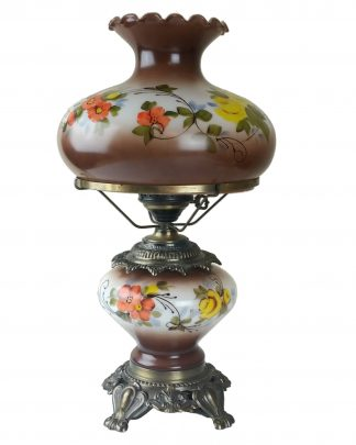 Brown Floral GWTW Hurricane Lamp 3 Way Hand Painted Table Lamp OUTSTANDING! 22""
