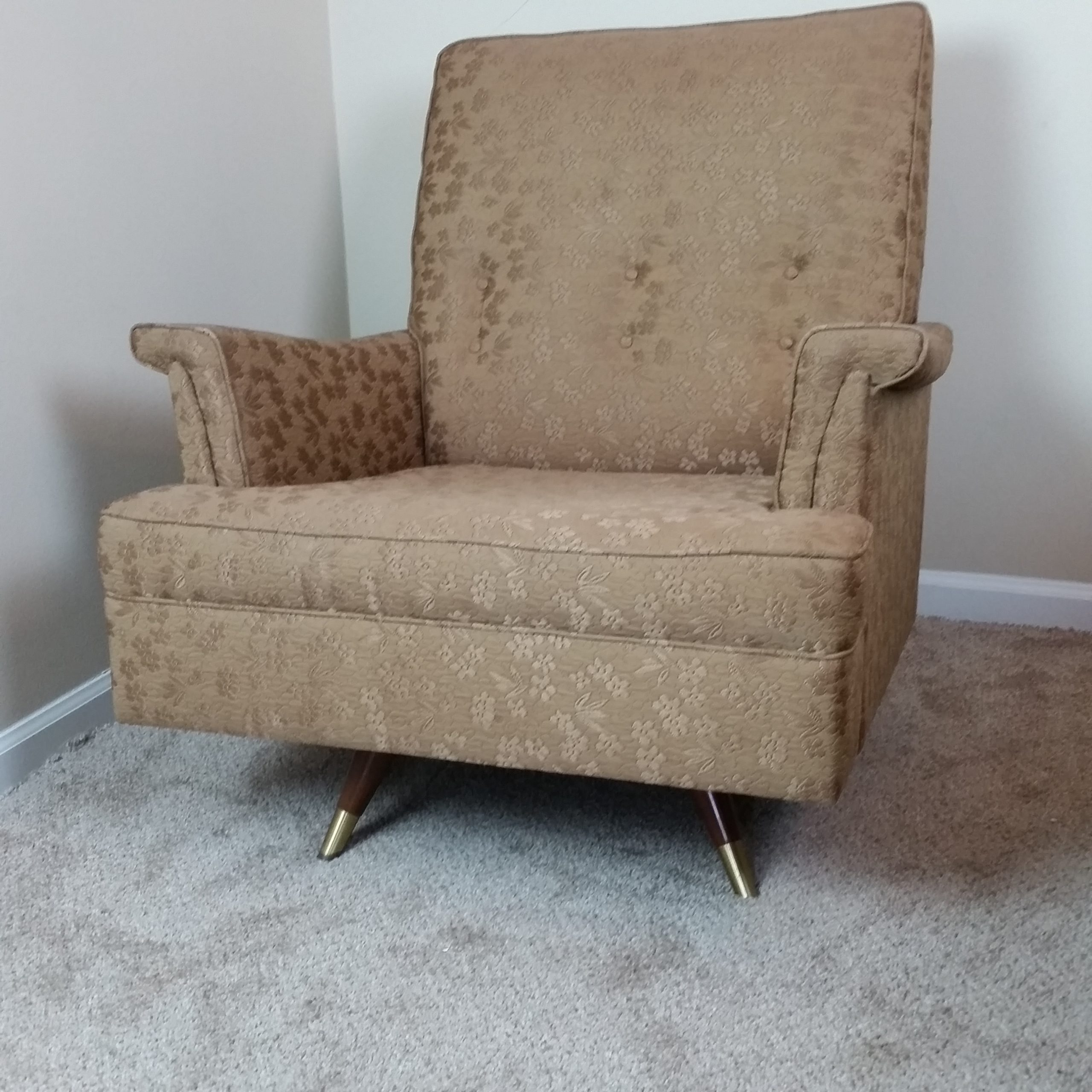 Image of: Sold Vintage Mid Century Modern Swivel Arm Chair Kroehler Mint Fabric Will Ship Read Description Laughing Owl Treasures