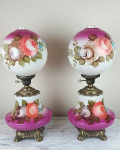 "Stunning Pair of LARGE 23"" Gone With The Wind Table Lamps, Hurricane Lamps Hand Painted Floral 23"" GWTW Lamps"