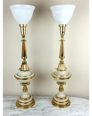 Stiffel Torchiere Table Lamps Hollywood Regency Banquet Tall