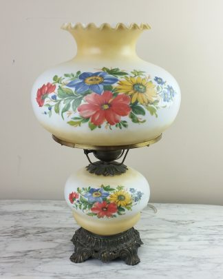 22 Inch 3-way Hurricane GWTW Table Lamp Gold Floral Vintage